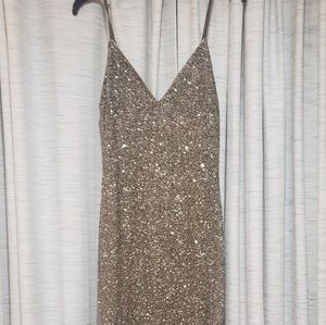 Stunning strappy olive and gold sequined dress